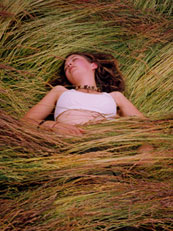 woman in hay